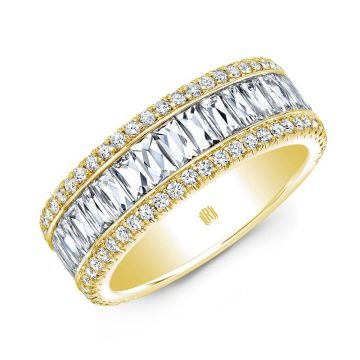 Rahaminov Diamonds French Baguette 18K Yellow Gold Band